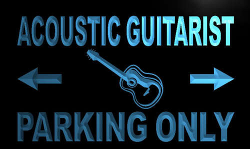 Acoustic Guitarist Parking Only Neon Light Sign