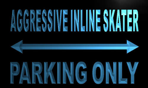 Aggressive inline skater Parking Only Neon Sign