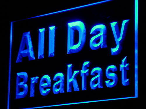 All Day Breakfast Cafe Restaurant Neon Light
