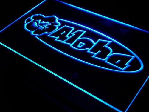 Aloha Hibiscus Surf Bar Beer Neon Light Sign