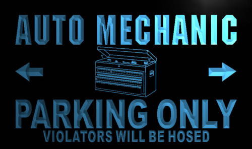 Auto Mechanic Parking Only Neon Light Sign