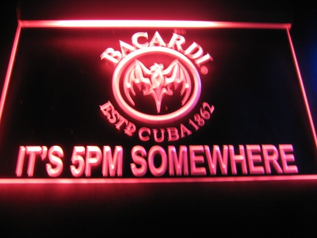 Bacardi it's 5pm Somewhere Neon Sign