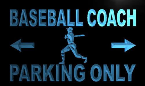 Baseball Coach Parking Only Neon Light Sign