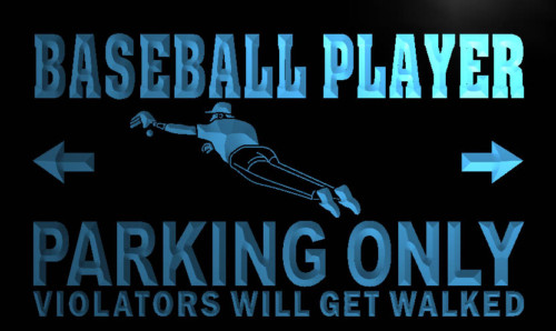 Baseball Player Parking Only Neon Light Sign