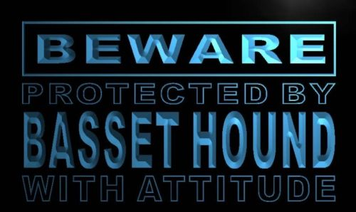 Beware Basset Hound Neon Light Sign