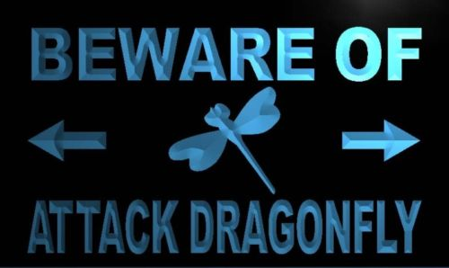 Beware of Attack Dragonfly Neon Light Sign
