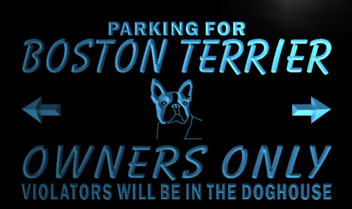 Boston Terrier Owners Parking Only Neon Sign