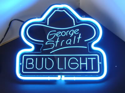 Bud Light George Strait Neon Bar Mancave Sign