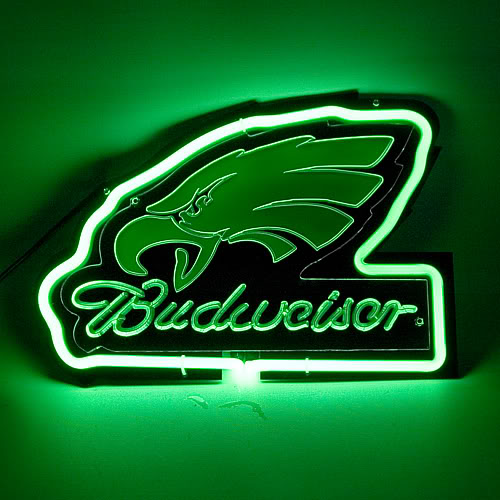 Budweiser Eagles Green Neon Bar Mancave Sign