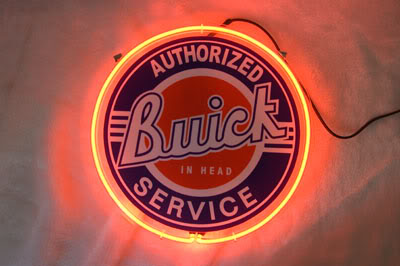 Buick Authorized Service Round Neon Bar Mancave Sign