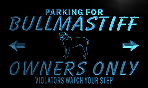 Bullmastiff Owners Parking Neon Light Sign