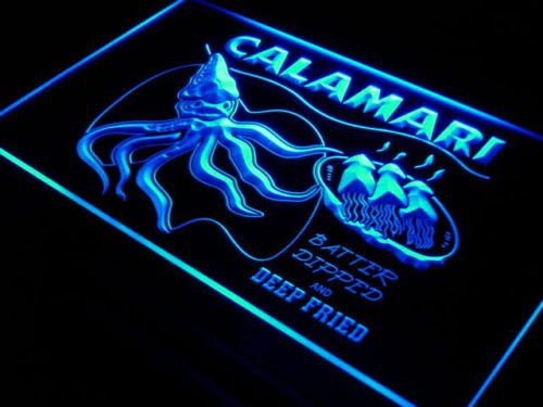 CALAMARI SQUID Ocean Beach Seafood Neon Sign