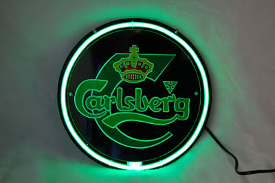 Carlsberg Logo Green Round Neon Bar Mancave Sign