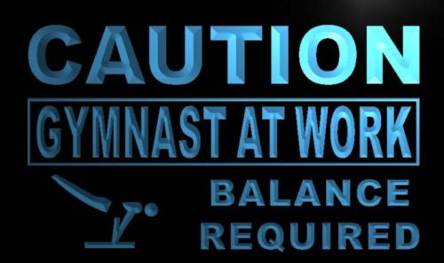 Caution At Work Gymnast Neon Light Sign