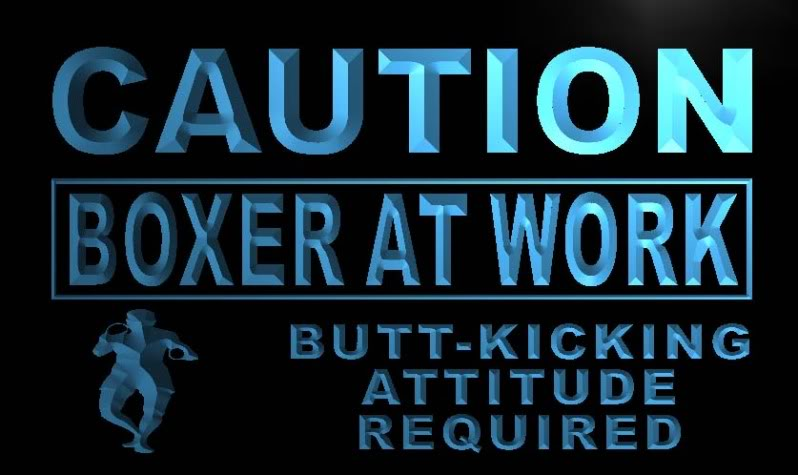 Caution Boxer At Work Neon Light Sign
