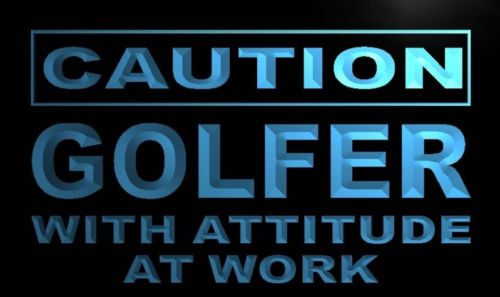 Caution Golfer with Attitude Neon Light Sign