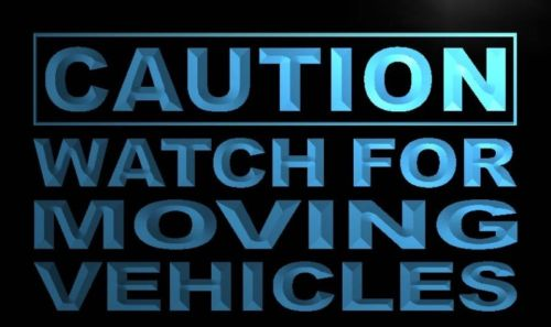 Caution Watch for Moving Vehicles Neon Sign