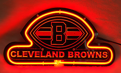 Cleveland Browns NFL Red Neon Bar Mancave Sign