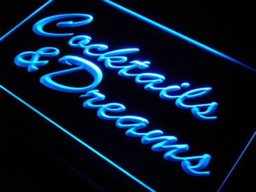Cocktails & Dreams Script Beer Bar Pub Neon Light Sign