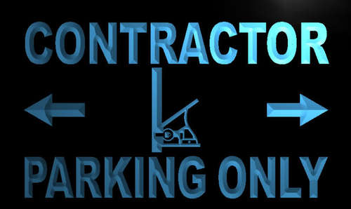 Contractor Parking Only Neon Light Sign