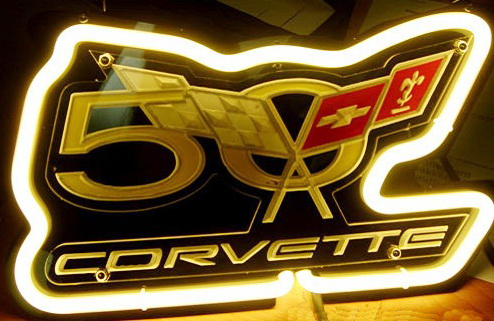 Corvette 50th Years LOGO Anniversary Corvette Neon Sign