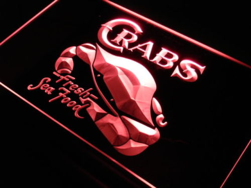 Crabs Fresh Seafood Restaurant Neon Light Sign