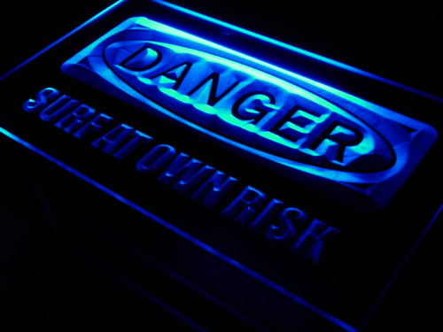 Danger Surf at Own Risk Beach Neon Light Sign