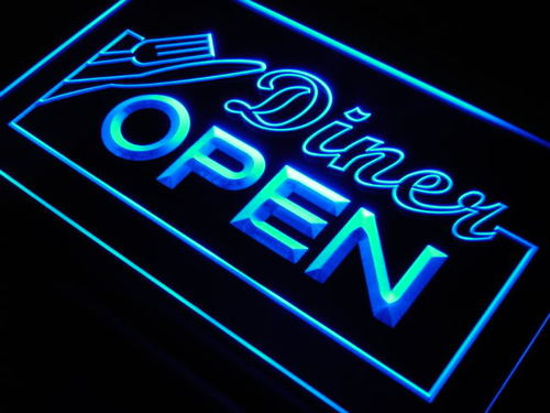 Diner OPEN Knife Fork Cafe Neon Light Sign