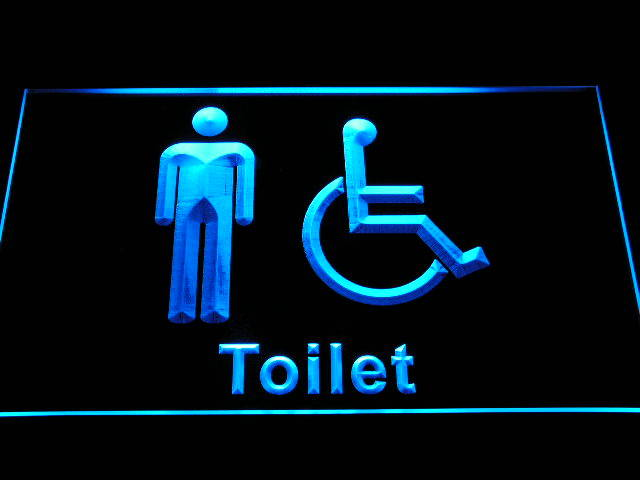 Disabled Wheelchair Handicap Access Men Toilet Neon Sign