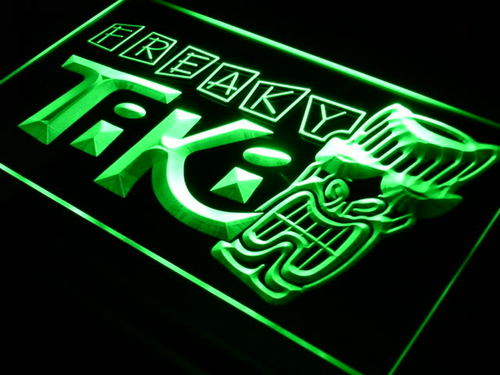 Freaky Tiki Bar Mask Pub Beer Neon Light Sign