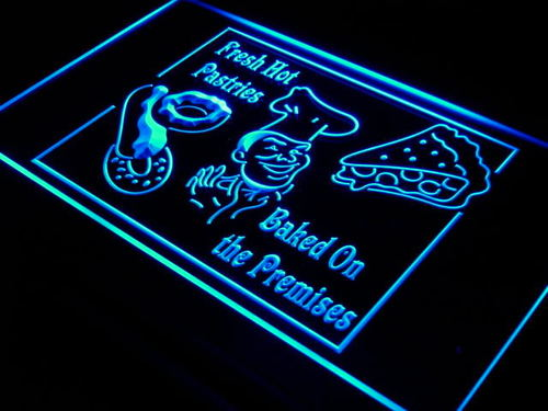 Fresh Hot Pastries Cafe Drink Neon Light Sign