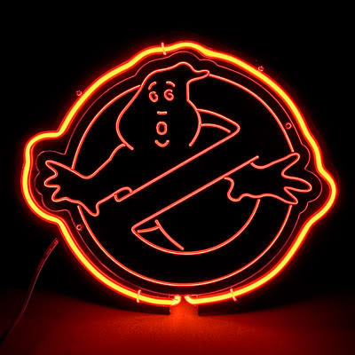 Ghostbusters Logo Movie Red Neon Bar Mancave Sign