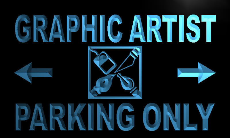 Graphic Artist Parking Only Neon Light Sign