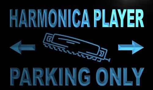 Harmonica Player Parking Only Neon Light Sign