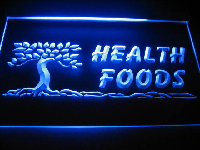 Health Foods logo Neon Light Sign Blue