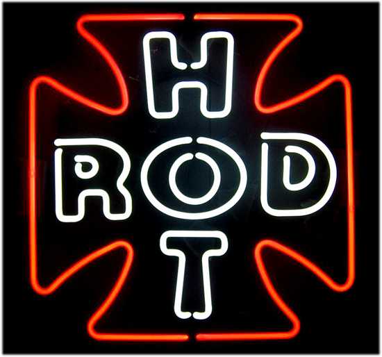 Hot Rod Cross Red Classic Neon Light Sign 17 x 17