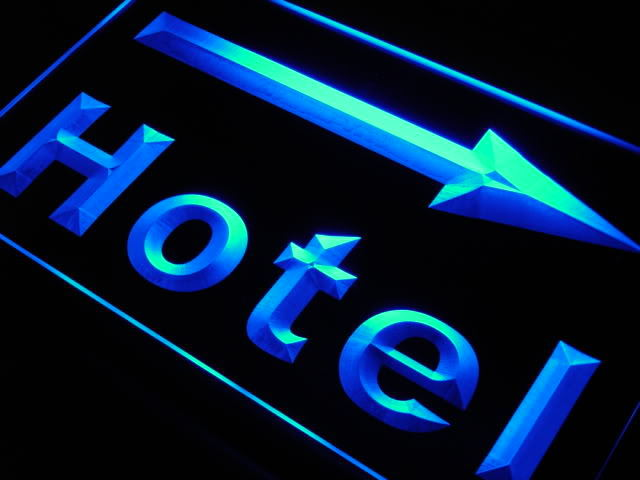 Hotel Arrow Right Neon Light Sign