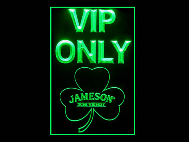 Jameson Whiskey Shamrock VIP Only Pub Store Tall Light Sign
