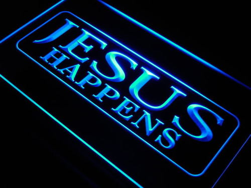 Jesus Happens Home Decor NEW Neon Light Sign
