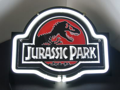 Jurassic Park White Logo Neon Bar Mancave Sign