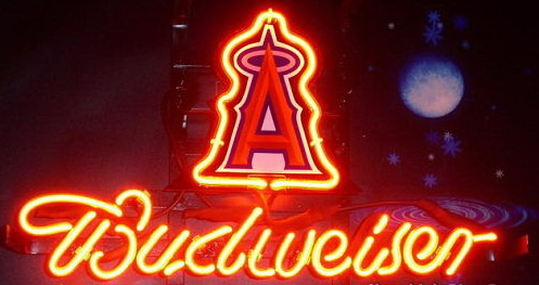 MLB ANAHEIM ANGELS Budweiser Neon Sign