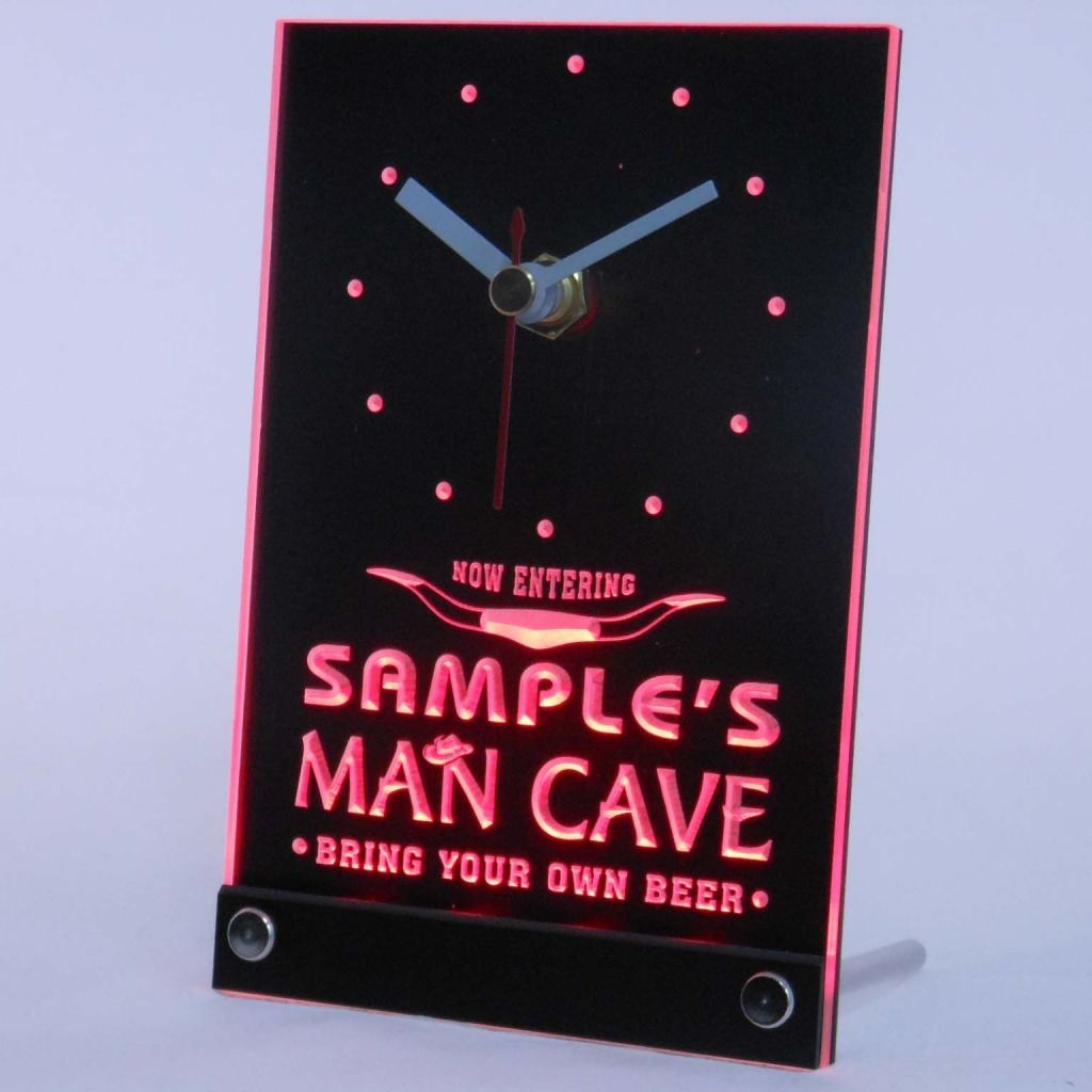 Personalized Man Cave Room Bar Led Table Clock Red