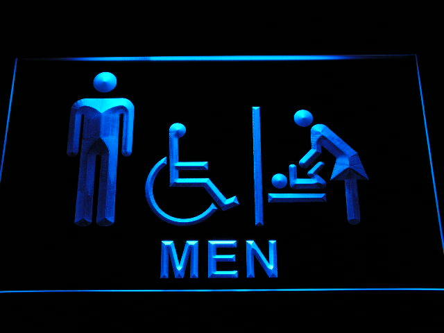 Men Baby Changing Room with Disabled Accessible Toilet Neon Sign