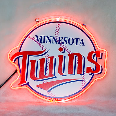 Minnesota Twins Baseball White Neon Bar Mancave Sign