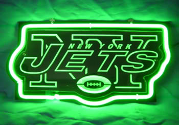 NY Jets Green Logo Neon Bar Mancave Sign