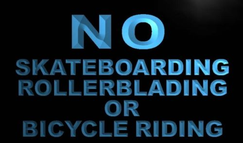 No Skateboarding Rollerblading Bicycle Neon Sign