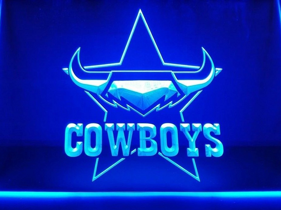 North QLD Cowboys LED Neon Flag Sign Large NRL