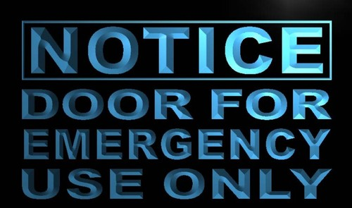 Notice Door For Emergency Use only Neon Sign