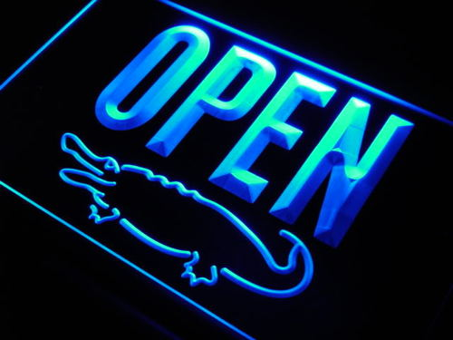 OPEN Crocodile Display Shop Bar Neon Light Sign