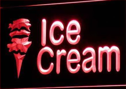 OPEN Ice-cream Cafe Mini Bar Neon Light Signs